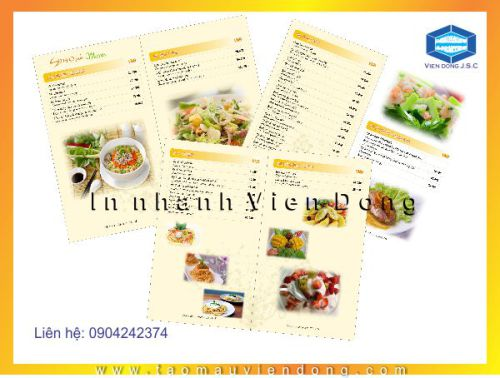 In menu nhà hàng | In Nhanh ; In Lay Ngay ; In Vo hop ; In Name Card ; In tui nilon ; in thiep