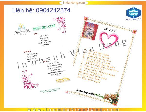 In menu thiệp cưới | Mẫu quà tặng pha lê mới nhất | In Nhanh | In Lay Ngay